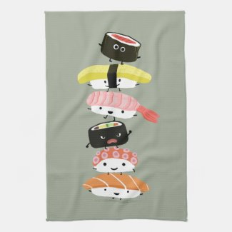 Sushi Stack - A Tower of Happy Sushi Friends Towel