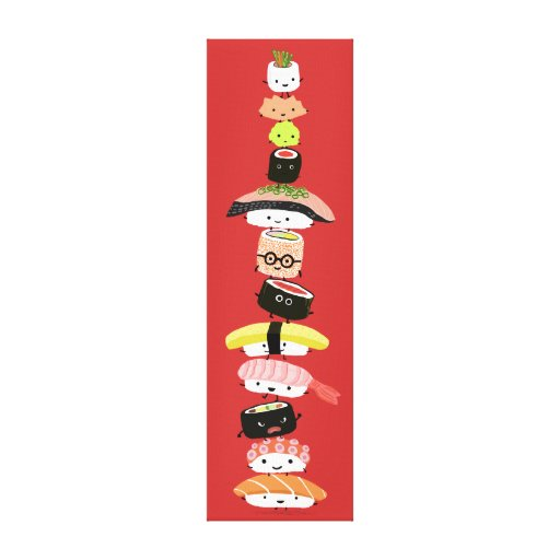 Sushi Stack - Happy Tower of Sushi Friends Stretched Canvas Prints