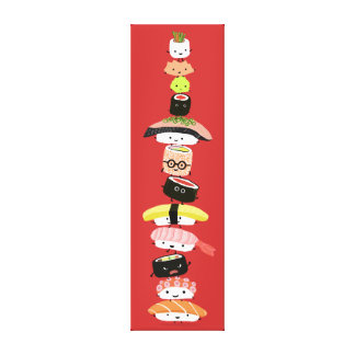 Sushi Stack - Happy Tower of Sushi Friends Canvas Print