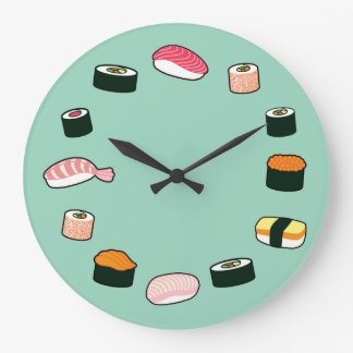 Sushi Time! Funky (Mint) Wall Clock