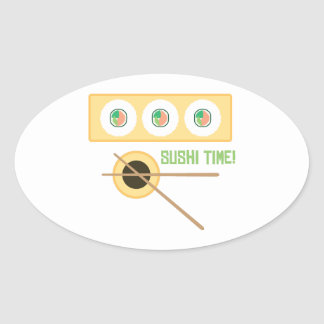 Sushi Time! Oval Stickers