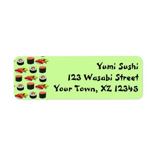 Sushi verde de Wasabi Etiqueta De Remite