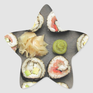 Sushi With Wasabi And Ginger Star Sticker