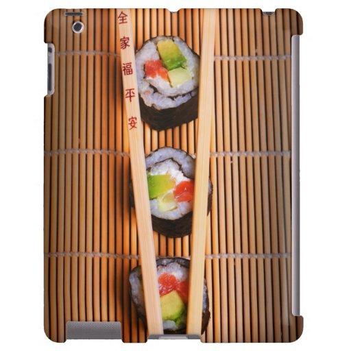 Sushi y palillos de madera
