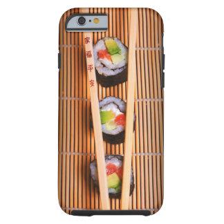Sushi y palillos de madera funda de iPhone 6 tough