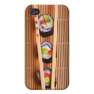 Sushi y palillos de madera iPhone 4 cárcasas