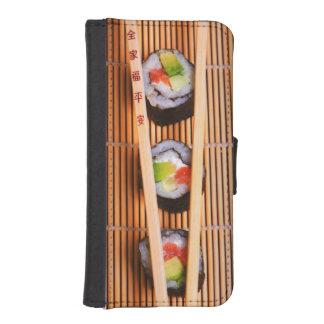 Sushi y palillos de madera carteras para teléfono