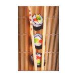 Sushi y palillos de madera impresión en tela