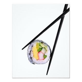 """Sushi y palillos negros sushi, palillos, ric invitación 4.25"""" x 5.5"""""""