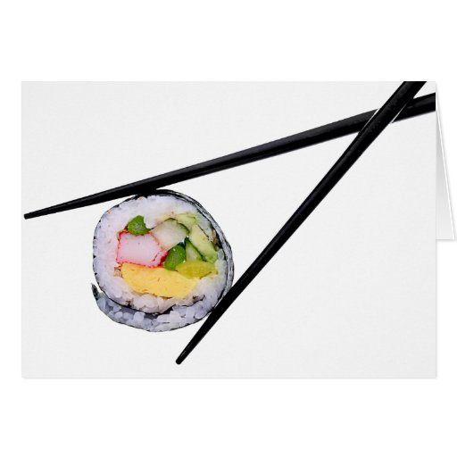 Sushi y palillos negros sushi, palillos, ric tarjeta