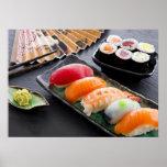Sushi y rollos póster