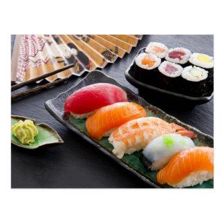 Sushi y rollos tarjetas postales