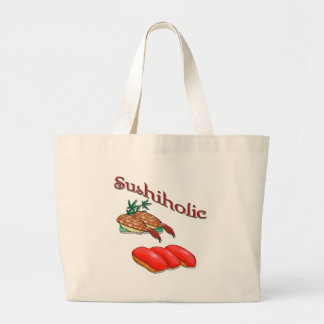 Sushiholic shrimp and tuna red large tote bag
