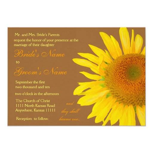 Susnflower 3 Wedding Personalized Announcements