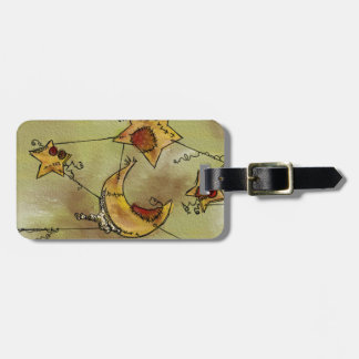 Suspended Crescent Moon and Stars Travel Bag Tag