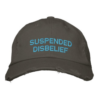suspended disbelief embroidered baseball cap