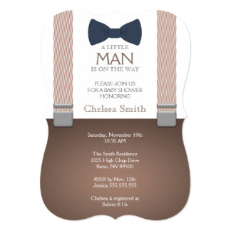 Suspender, Bow tie, Baby Shower Invitation