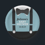 "Suspenders and Bow tie Party Paper Plates<br><div class=""desc"">These are super cute for a little man&#39;s baby shower. Blue,  black and a cute little bow tie,  your guests will be in love!</div>"