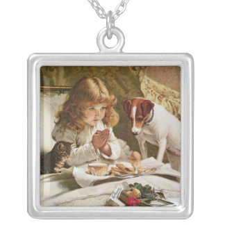 Suspense, poster square pendant necklace