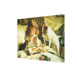 Suspense Saying Our Prayers Charles Burton Barber Stretched Canvas Print