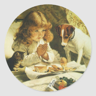 Suspense, Saying Our Prayers Charles Burton Barber Classic Round Sticker