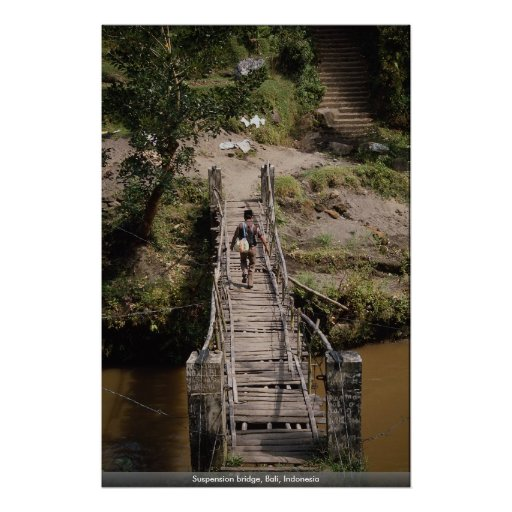 Suspension bridge, Bali, Indonesia Poster