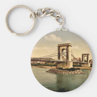 Suspension bridge over the Rhone, Avignon, Provenc Basic Round Button Keychain