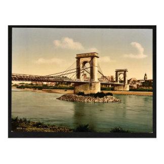 Suspension bridge over the Rhone, Avignon, Provenc Postcard