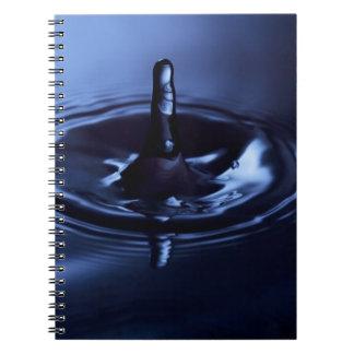 Suspensión del descenso del agua azul libreta espiral