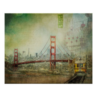 Suspension - Golden Gate Bridge Collage Poster