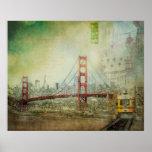 Suspensión - poster del collage de puente Golden G
