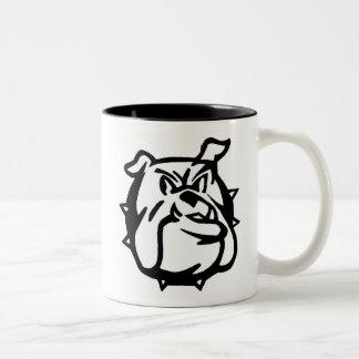 Suspicious bulldog Two-Tone coffee mug