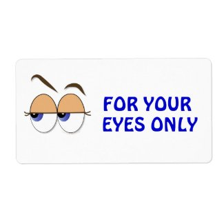 Suspicious Eyes Sideways Glance Confidential label