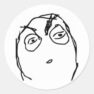 Suspicious Face Classic Round Sticker