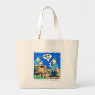 Suspicious Package Funny Police Cartoon Gifts Large Tote Bag