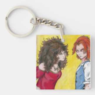 Suspicious Single-Sided Square Acrylic Keychain