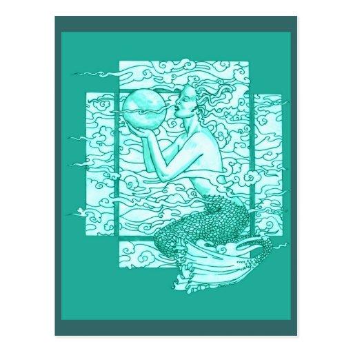 Suspiros de Gaia del mar verde Tarjetas Postales