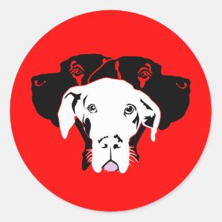 Süße Dogge in weiß Classic Round Sticker