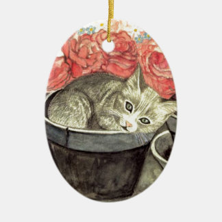 SÜßES KITTEN IN the FLOWER POT with ROSES Ceramic Ornament