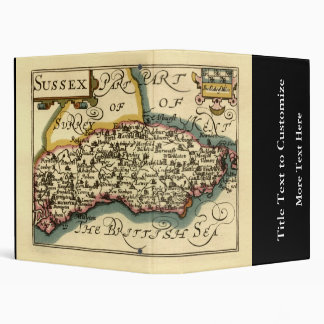 Sussex County Map, England 3 Ring Binder