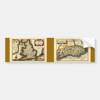 Sussex County Map, England Bumper Sticker