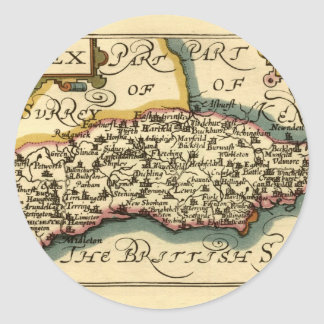 Sussex County Map, England Classic Round Sticker