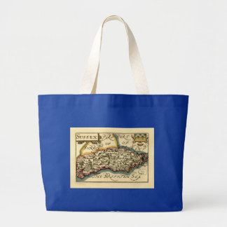 Sussex County Map, England Large Tote Bag
