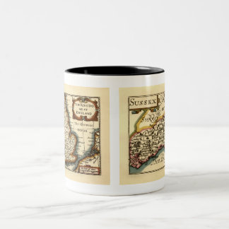 Sussex County Map, England Two-Tone Coffee Mug