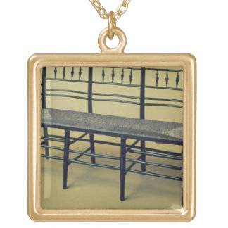 Sussex rush-seated chair (wood and rush) gold plated necklace