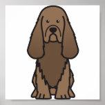 Sussex Spaniel Dog Cartoon Poster