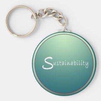 Sustainability Basic Round Button Keychain