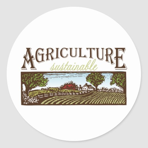 Sustainable Agriculture farm scene Round Stickers