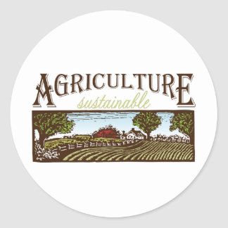 Sustainable Agriculture farm scene Classic Round Sticker