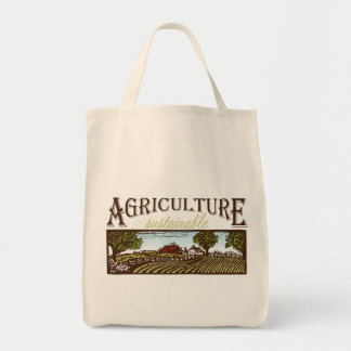 Sustainable Agriculture farm scene tote Grocery Tote Bag
